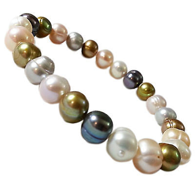 Pearl Beaded Bracelet Multi Colored White Pink Grey Olive Green Stretch b732sop
