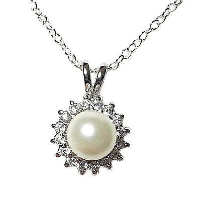 White Faux Pearl Pendant Necklace Sterling Silver Cubic Zirconia Fashion n102s