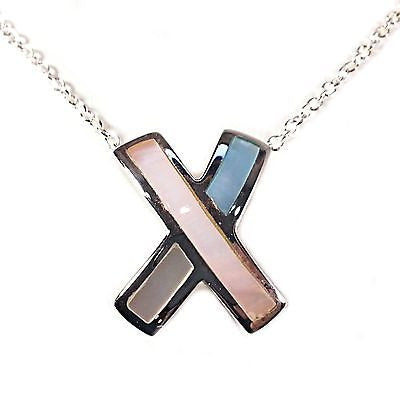 Mother of Pearl Modern X Necklace Sterling Silver Pink White Blue Fashion n851s