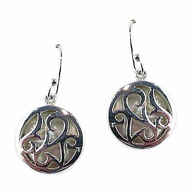 Mother of Pearl Filigree Drop Earrings Openwork Silver Plated Round e507s