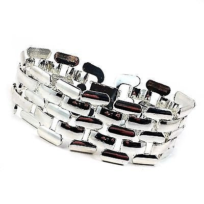 Pantera Polished Bracelet 24k White Gold Plated 7 Inch Wide Link b272s