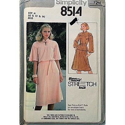 Misses Two Piece Dress Simplicity 8514 Pattern 1978 Vintage Size 10 12 14 c928