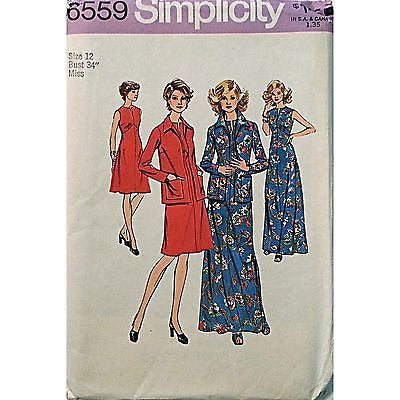 Misses Dress Jacket Simplicity 6559 Pattern 1974 Vintage Size 12 Retro c925