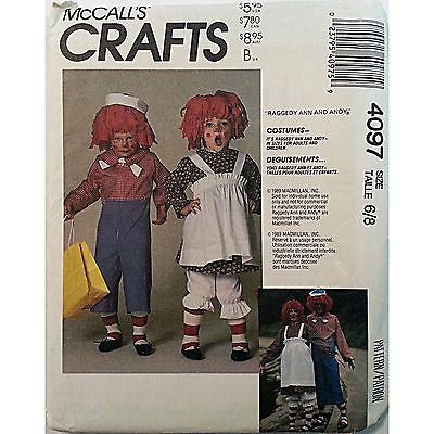 Boys Girls Raggedy Ann Andy Costume McCalls 4097 Vintage Pattern Size 6/8 c881
