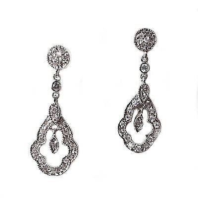 Pave Dangle Earrings Silver Plate Cubic Zirconia Drop Formal Fashion e102s