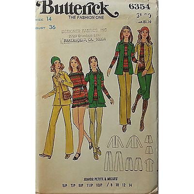 Misses Shirt Top Pants Shorts Butterick 6354 Pattern Vintage Size 14 c435