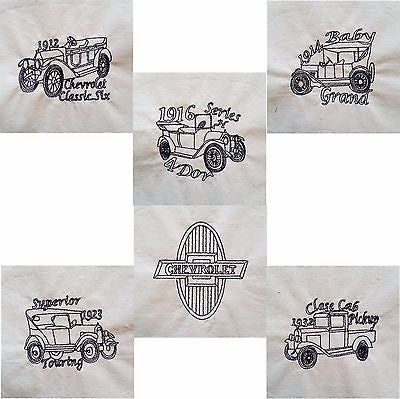 Embroidered Quilt Blocks Classic Chevy Lot of 4 Car Chevrolet Navy Blue q104