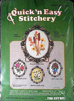 Weeds Cattails Embroidery Kit Vintage Frame 2.5 x 2 in Quick n Easy Kit Bit c196