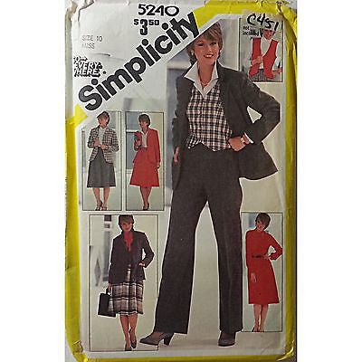 Miss Jacket Vest Pants Skirt Blouse Simplicity 5240 Pattern Vintage Size 10 c451