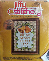 Wedding Counted Cross Stitch Kit Vintage 5x7 Personalized Jiffy Stitchery c296