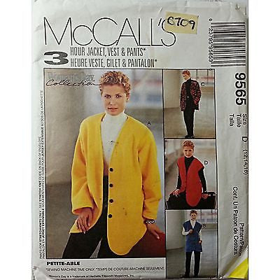 Misses Jacket Vest Pull On Pants McCalls 9565 Pattern 1998 Size 12 14 16 c709