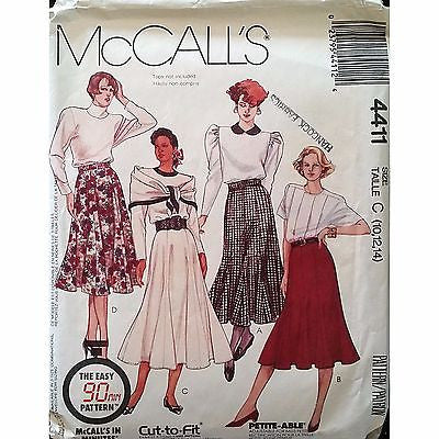 Misses Skirts Belt McCalls 4411 Pattern Vintage 1989 Size 10 12 14 Retro c1312