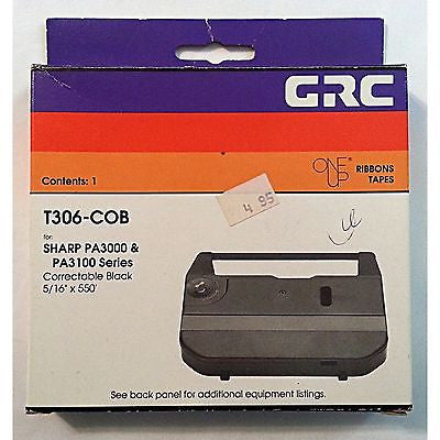 "Sharp Ribbon Tape Correctable Black 5/16"" x 550' GRC T306-COB m113"