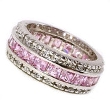 Pink Ring Band Cubic Zirconia Bezel Set White Gold Plate Size 5 Women r071