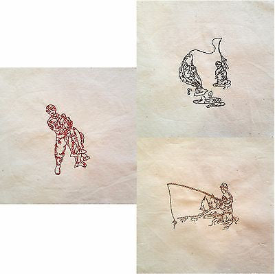 Embroidered Quilt Blocks Fly Fishing Lot of 4 Green Red Tan Fisherman Fish q102