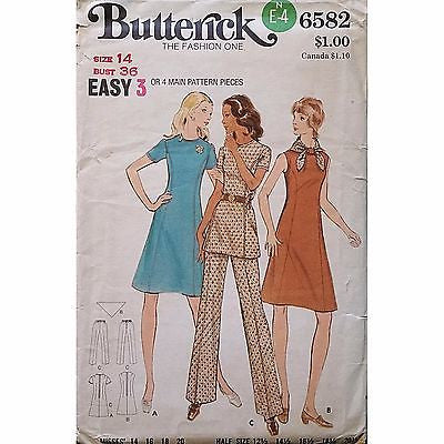 Misses Dress Tunic Pants Butterick 6582 Pattern Vintage 1970s Size 14 c1182
