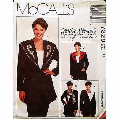 Misses Unlined Jacket Collars McCalls 7329 Pattern Vintage 1994 Size 16 c1203