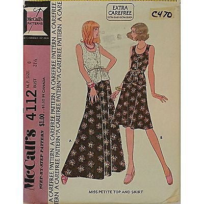 Miss Petite Top and Skirt McCalls 4112 Vintage Pattern 1974 Size 8 Sewing c470