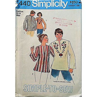 Misses Pullover Top Simplicity 7440 Pattern 1976 Vintage Size 12-14 Retro c938