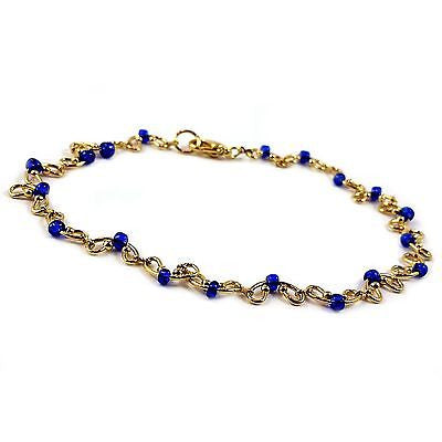 "Royal Blue Curved Anklet 9"" Beaded Yellow Gold Plated Fashion Summer A05G"