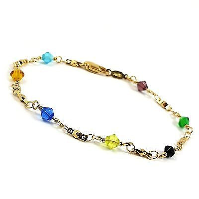 "Multi Color Bracelet Austrian Crystal 24k Yellow Gold Plated 7  8"" Beaded ch16g"