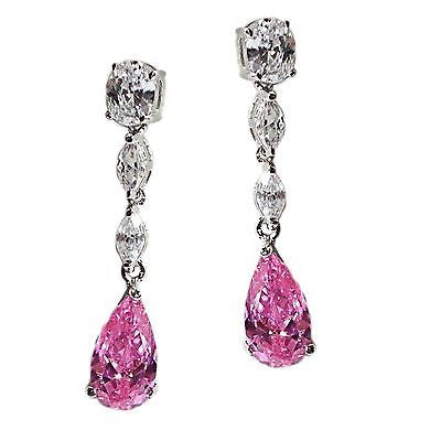 Pink Ice Dangle Earrings Silver Clear Cubic Zirconia Designer Inspired e105s