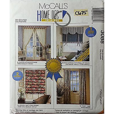 Showhouse Sheers Cornice Shade McCalls 3088 Pattern Home Decor Curtains c675