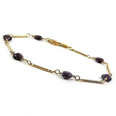 Purple Swarovski Hearts Bracelet 24k Yellow Gold Plated Link Beaded ch15g