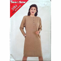 Misses Dress Butterick 5184 Pattern Vintage 1980s Size 14 16 18 Retro c1360
