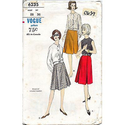 Misses A Shaped Skirt Vogue 6235 Pattern Vintage 1964 Waist Size 26 c639