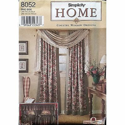 Country Window Dressing Treatments Simplicity 8052 Pattern 1999 Home Decor c1176