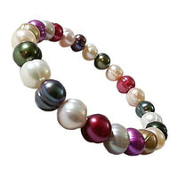 Pearl Beaded Bracelet Multi Colored White Pink Gray Red Stretch b732sxp