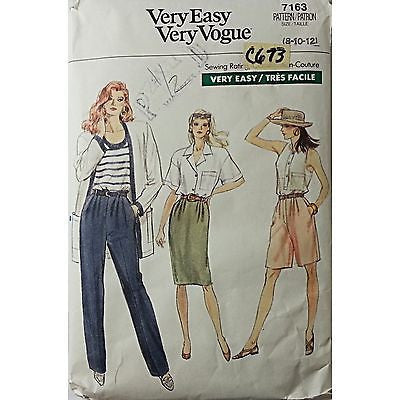 Misses' Petite Pants Shorts Skirt Vogue 7163 Vintage Pattern Size 8 10 12 c673