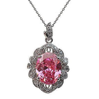Pink Oval Pendant Necklace Pave Cluster Silver Plated Cubic Zirconia n344sp