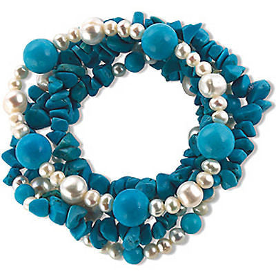 Multi Strand Beaded Bracelet Blue Howlite Pearls Stretch Gemstone b880sq