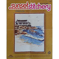 "Handworked Morning Tide Crewel Embroidery 14""x 18"" Vintage Sunset Stitchery c783"