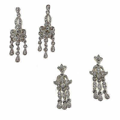 Pave Fancy Dangle Earrings Cubic Zirconia Silver Plated Chandelier e508