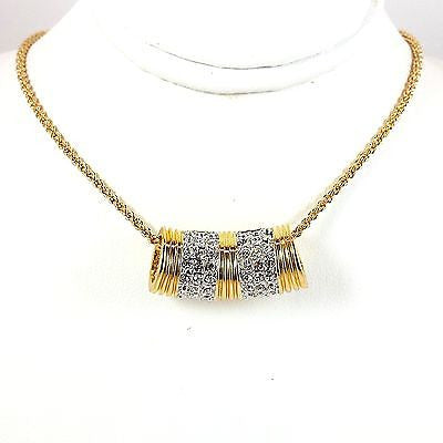 Pave Tube Slide Pendant Necklace 18in 24k Yellow Gold Plate Cubic Zirconia n258g