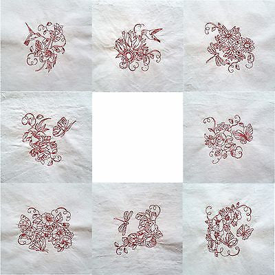 Embroidered Quilt Blocks Flowers Birds Butterflies Lot of 4 Redwork q106