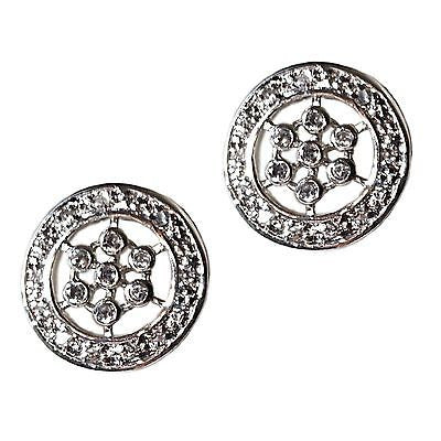 Pave Round Earrings .925 Sterling Silver Cubic Zirconia Designer Inspired e103s