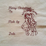 Embroidered Quilt Label Block Christmas Redwork Vintage Style Girl Boy q100