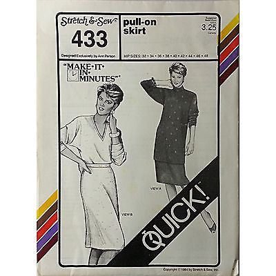 Miss Pull On Skirt Stretch Sew 433 Vintage Pattern Ann Person Size 32-48 c531