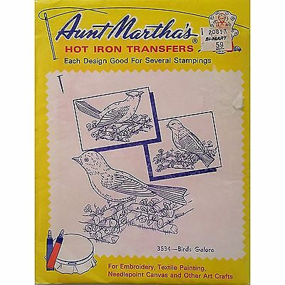 Birds Galore Aunt Marthas 3534 Vintage Hot Iron Transfer Needlework Paint am37