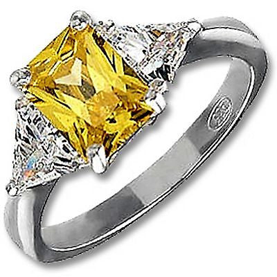 Yellow Emerald-Cut Ring Sterling Silver Cubic Zirconia Fashion Cocktail r923sm