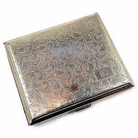 Cigarette Case Engraved Monogram KNB Vintage Flourish Germany Silver Tone m136