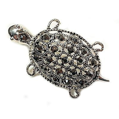 Turtle Gray Crystal Brooch Pin Grey Studded Silver Tone Fashion p204s