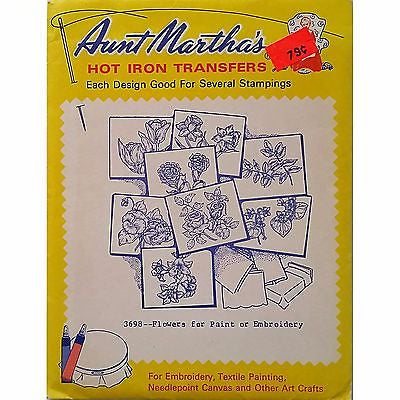 Flowers for Paint or Embroidery Aunt Marthas 3698 Vintage Hot Iron Transfer am34