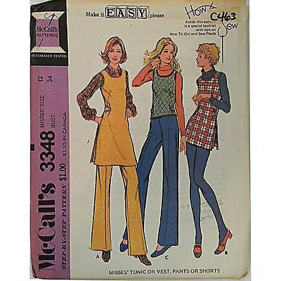 Misses Tunic Vest Pants Shorts McCalls 3348 Vintage Pattern 1972 Size 12 c463