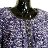 Purple Metallic Cardigan Sweater Chicos Womens Size 2 Career Hook Closure f530
