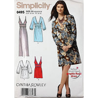 Misses Dress Tunic Simplicity 0495 Sewing Pattern 2010 Cynthia Rowley 4-12 c1810